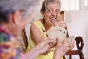 Residents enjoy time together in an assisted living community
